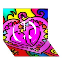 Colorful Modern Love Peace Sign 3d Greeting Card (7x5)