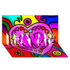 Colorful Modern Love Best Sis 3d Greeting Card (8x4)