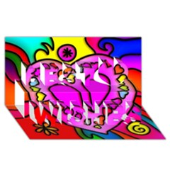 Colorful Modern Love Best Wish 3D Greeting Card (8x4)
