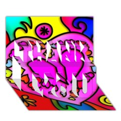 Colorful Modern Love Thank You 3d Greeting Card (7x5)