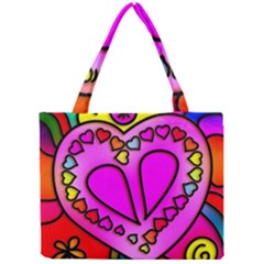 Colorful Modern Love Tiny Tote Bags