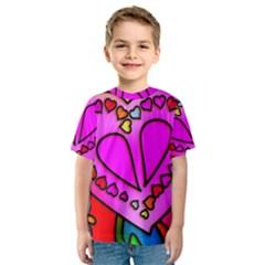Colorful Modern Love Kid s Sport Mesh Tees