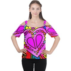 Colorful Modern Love Women s Cutout Shoulder Tee