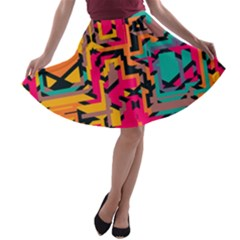 Colorful Shapes A Line Skater Skirt