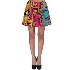 Colorful Shapes Skater Skirt