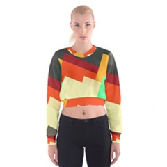 Miscellaneous Retro Shapes   Women s Cropped Sweatshirt