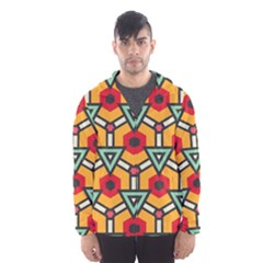Triangles and hexagons pattern Mesh Lined Wind Breaker (Men)