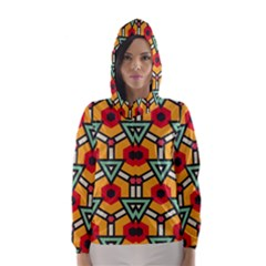 Triangles And Hexagons Pattern Hooded Wind Breaker (women)