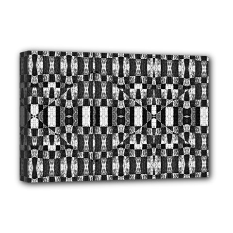 Black and White Geometric Tribal Pattern Deluxe Canvas 18  x 12