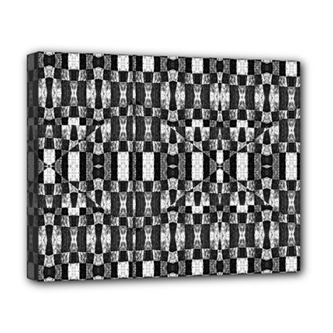 Black And White Geometric Tribal Pattern Deluxe Canvas 20  X 16