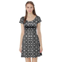 Black and White Geometric Tribal Pattern Short Sleeve Skater Dresses