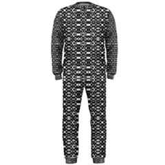 Black and White Geometric Tribal Pattern OnePiece Jumpsuit (Men)