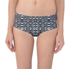 Black and White Geometric Tribal Pattern Mid-Waist Bikini Bottoms