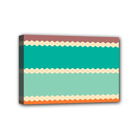 Rhombus and retro colors stripes pattern Mini Canvas 6  x 4  (Stretched)