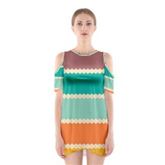 Rhombus and retro colors stripes pattern Women s Cutout Shoulder Dress