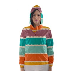 Rhombus and retro colors stripes pattern Hooded Wind Breaker (Women)