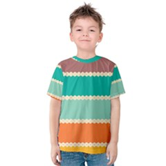 Rhombus And Retro Colors Stripes Pattern Kid s Cotton Tee