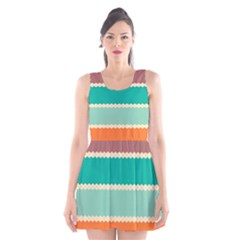 Rhombus and retro colors stripes pattern Scoop Neck Skater Dress