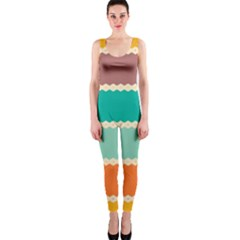 Rhombus And Retro Colors Stripes Pattern Onepiece Catsuit