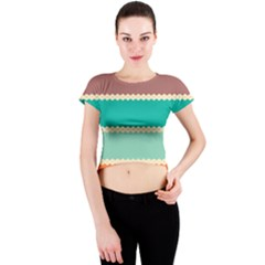 Rhombus and retro colors stripes pattern Crew Neck Crop Top