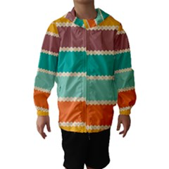 Rhombus and retro colors stripes pattern Hooded Wind Breaker (Kids)