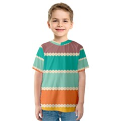 Rhombus and retro colors stripes pattern Kid s Sport Mesh Tee