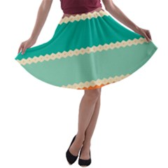 Rhombus And Retro Colors Stripes Pattern A Line Skater Skirt