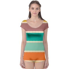 Rhombus And Retro Colors Stripes Pattern Boyleg Leotard (ladies)
