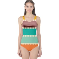 Rhombus And Retro Colors Stripes Pattern Women s One Piece Swimsuit