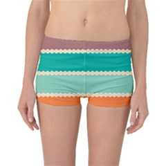 Rhombus And Retro Colors Stripes Pattern Boyleg Bikini Bottoms