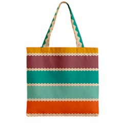 Rhombus And Retro Colors Stripes Pattern Grocery Tote Bag