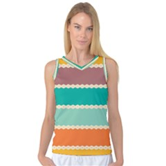 Rhombus And Retro Colors Stripes Pattern Women s Basketball Tank Top