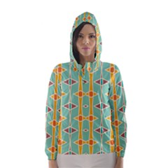 Rhombus Pattern In Retro Colors  Hooded Wind Breaker (women)