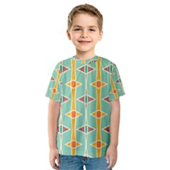 Rhombus pattern in retro colors  Kid s Sport Mesh Tee