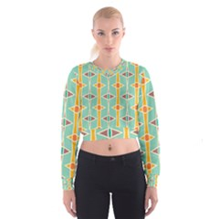 Rhombus Pattern In Retro Colors    Women s Cropped Sweatshirt