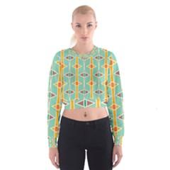 Rhombus pattern in retro colors    Women s Cropped Sweatshirt
