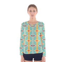 Rhombus pattern in retro colors  Women Long Sleeve T-shirt