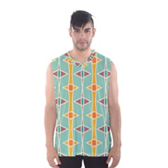 Rhombus pattern in retro colors  Men s Basketball Tank Top