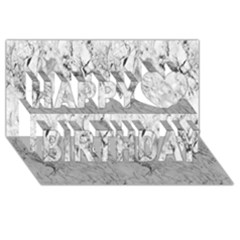 White Marble Happy Birthday 3D Greeting Card (8x4)
