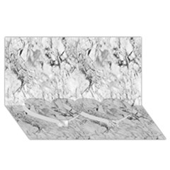 White Marble Twin Heart Bottom 3D Greeting Card (8x4)
