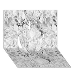 White Marble Apple 3D Greeting Card (7x5)