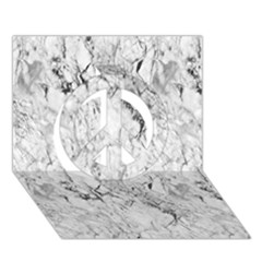 White Marble Peace Sign 3d Greeting Card (7x5)
