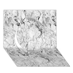 White Marble Circle 3D Greeting Card (7x5)