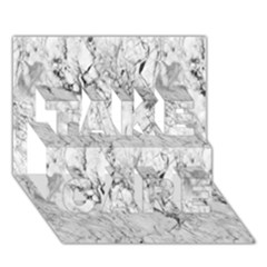 White Marble Take Care 3d Greeting Card (7x5)