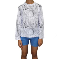 White Marble Kid s Long Sleeve Swimwear