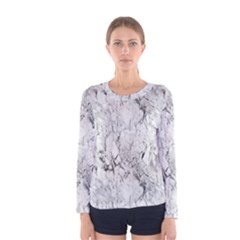 White Marble Women s Long Sleeve T Shirts