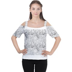 White Marble Women s Cutout Shoulder Tee