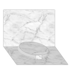 White Marble 2 Circle Bottom 3d Greeting Card (7x5)