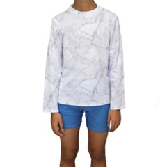 White Marble 2 Kid s Long Sleeve Swimwear