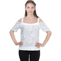 White Marble 2 Women s Cutout Shoulder Tee